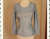 GLITZY Rock n Roll 1950's Baby Blue w/ Silver Lurex Scooped Neck Blouse by Adelaar - Darted Bust - So Sparkly - VLV Pinup - Size M to L