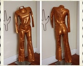 RESERVED Late 1950's Copperish Gold Stretch Lame' 2 Piece Cowgirl Western Hourglass Suit by H Bar C California Ranchwear - VLV - Size XS