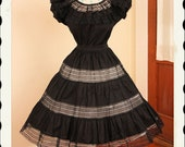 DEADSTOCK Rare 1940's Inky Black Mexican Cotton 2 Piece New Look Dress Set - Peasant Blouse & Circle Skirt - Sheer Crochet Netting - Size M