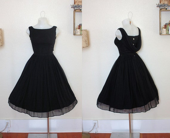 GORGEOUS 1950's Black Silk Chiffon New Look Party Dress w Draped Shawl Back Detailing - Lucite Rhinestone Buttons Up the Back - VLV - Size S