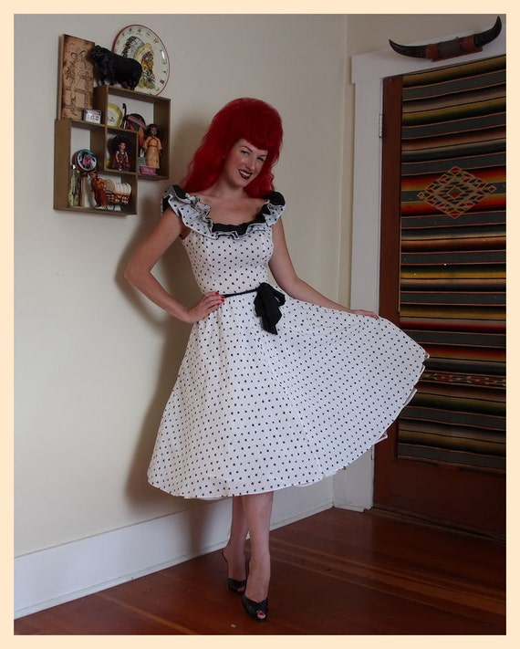 THE CUTEST 1950's Cha Cha Polka Dot Cotton New Look Party Sun Dress - Double Ruffled Neckline - Rockabilly Pinup Cutie - Pristine - Size M