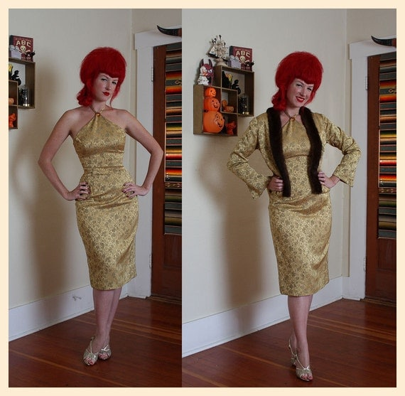 COUTURE Gold Silk Brocade 1950's Hourglass Cocktail Dress w/ Matching Jacket w/ Mink Trim - By Alfa Custom Made - Couture - VLV - Size M