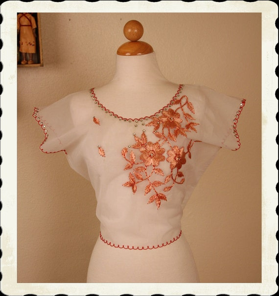 LOVELY & Unique 1950's Sheer Nylon Blouse w/ Raffia Embroidered Flowers, Embroidered Scalloped Trim and Rhinestones - VLV - Size L to XL