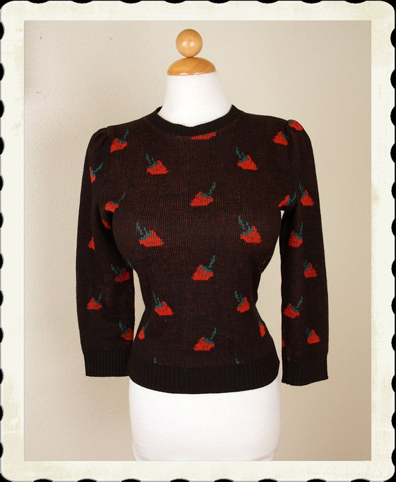 ADORABLE 1950's Woven Black with Red Strawberry Theme Wool Cropped Sweater Girl Sweater - VLV - Rockabilly Pinup - Size M to L