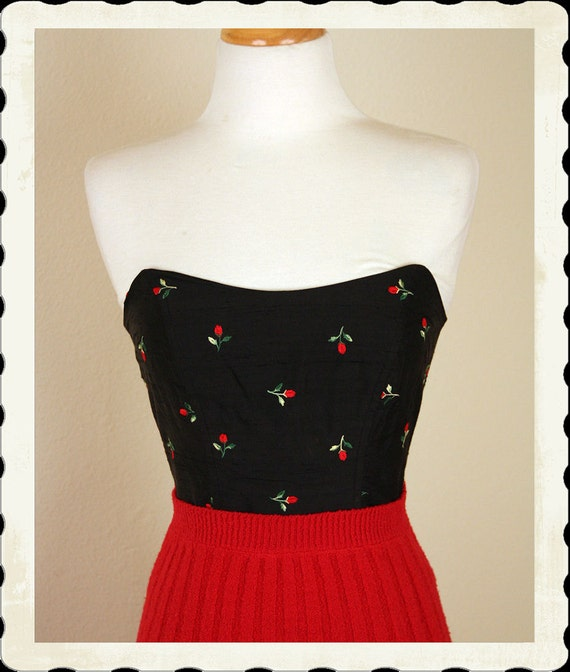 DEADSTOCK with Tags 1950's Style Inky Black Raw Silk Winged Bustier Top w/ Embroidered Red Rosebuds - Boning - Pinup - VLV - Size S