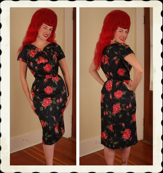 RARE 1950's Designer Black Silk Hourglass Cocktail Dress w/ Huge Red Atomic Roses by I. Magnin - Cut Out Neck - Pockets - Plus Size L to XL
