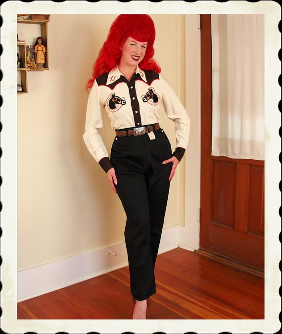 DEADSTOCK 1950's Inky Black Sanforized Cotton High Waisted Western Pants w/ Pearl Snap Buttons by Universal Sportswear - Size Tall M to L