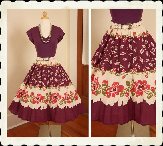 RESERVED Early 1960's Plum Purple Mexican Inspired New Look Day Dress w/ Knit Bodice & Hand Printed Floral Border Print Skirt - Size M to XL