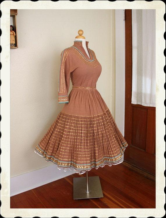FABULOUS 1950's Mocha Brown Cotton Voile w/ Metallic Gold & Turquoise Western Squaw Dress 2 Piece Patio Set - Blouse / Skirt - VLV - Size L