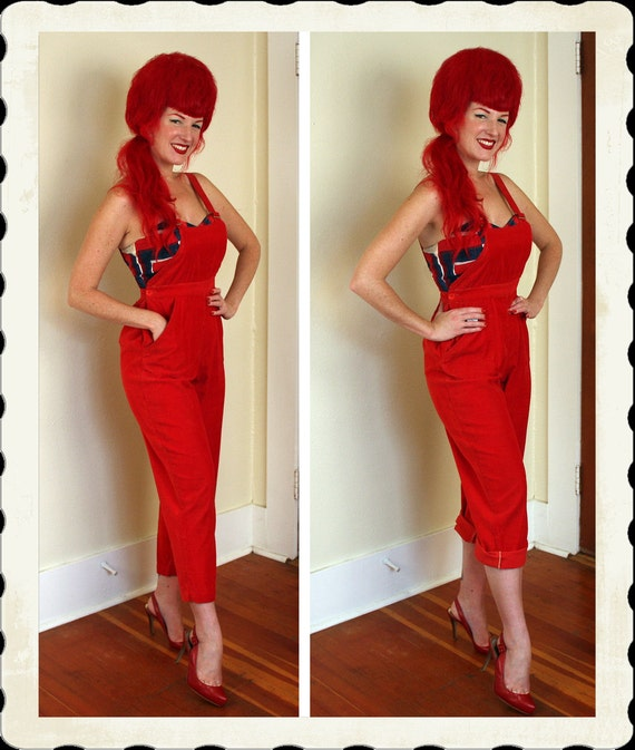 ADORABLE 1940's Rich Red Cotton Corduroy Wide Legged Pinup Overalls by Lord & Taylor Fifth Avenue - Hip Pockets - Rockabilly - Size M to L