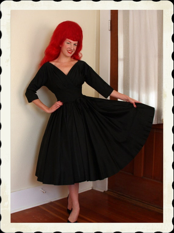 COUTURE 1950's New Look Heavy Inky Black Satin Party Dress by R&K Originals - Criss Cross Shelf Bust - Pristine - Dior - VLV - Size M