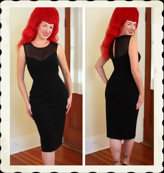 COUTURE Designer 1950's Style Inky Black Wool Jersey w/ Sheer Black Illusion Sweetheart Bust Hourglass Cocktail Dress by ESCADA - Size L