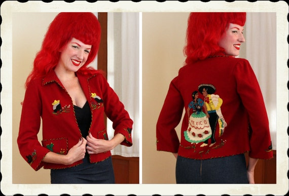 ADORABLE 1940's Rich Crimson Red Wool Felt Hand Embroidered & Appliqued Cropped Mexican Tourist Jacket by La Mexicana - Rare Cut  - Size M