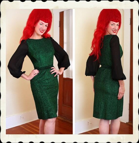KILLER Late 1950's Sparkling Emerald Green Metallic Lurex Hourglass Cocktail Dress w/ Sheer Chiffon Sleeves by California Dynasty - Belt - M
