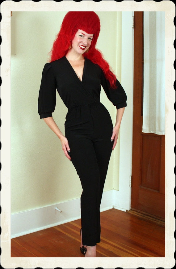 RESERVED Late 1940's Style Black Rayon One Piece Hourglass Jumpsuit or Catsuit by Popi - USA Union Made Label - Criss Cross Bust - Size M