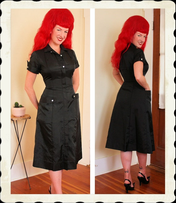 RARE Deadstock 1940's Black Nylon Nurse Uniform by Tiffiny Uniforms New York - Front Metal Zipper - 3D Hip Pockets - Goth Fetish - Size M
