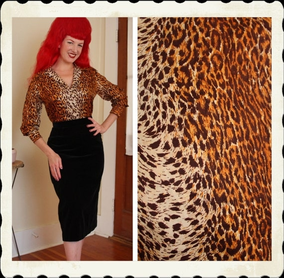 RESERVED 1940's Leopard Print Textured Satin Glamour Blouse w/ Gold Metal Buttons - Wide Cuffs & Collar - VLV - Size L