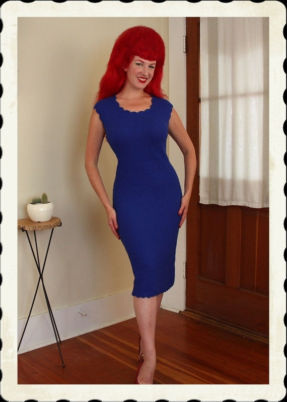 Bad Girl Bombshell 1950's Royal Blue Hand Knitted Crochet Hourglass Sweater Dress - Sweater Girl - Keyhole Back - VLV - Plus Size L to XXXL