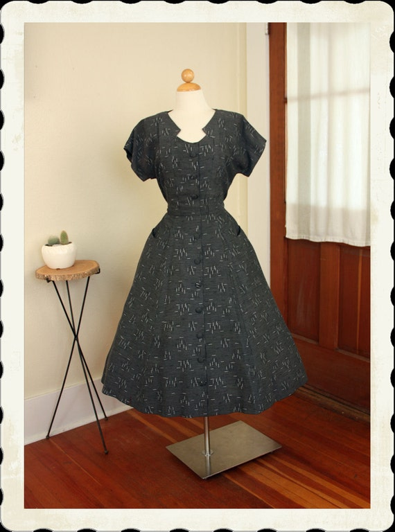 RESERVED 1950's New Look Slate Grey Rayon Gabardine Atomic Fleck Pattern Party or Day Dress w/ Hip Pockets & Cut Out Neckline - VLV - Size L