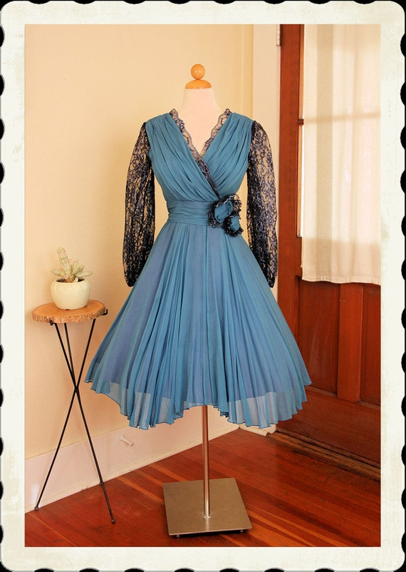 DESIGNER Early 1960's New Look Vibrant Blue Silk Chiffon & Black Lace Party Dress by Miss Elliette of California - 3D Roses - Rare - Size L