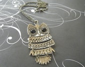 FREE SHIPPING Vintage Style LONG Chain Owl Necklace
