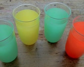Frosted Tumblers 1970's Brightly Colored