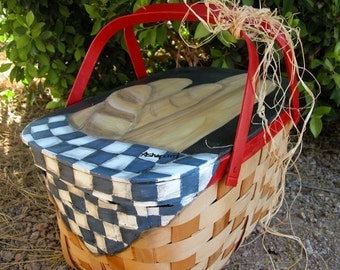 Hand Painted Vintage 1950's Picnic Basket