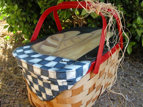 Picnic basket items : Items similar to hand painted vintage s picnic basket