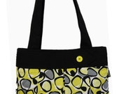 HALF OFF SALE - 50% Off -  Miss Energetic - Cotton Handbag with Yellow, Gray and Black Funky Shapes on White
