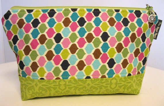 Miss  Witty - Make Up Bag - Multi Colored Print with Lime Green Bottom - Matching Lime Green Interior - Lined with Clear Vinyl