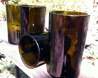 4 Recycled glasses made from wine bottles. Simple and pure.