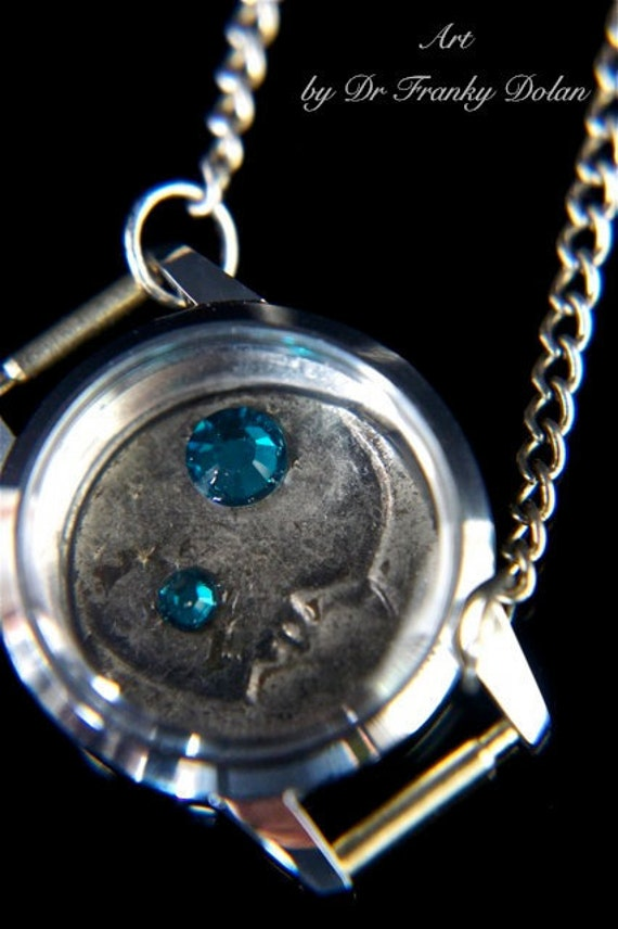Moon and Stars Necklace by Award - Winning Fae Factory Steampunk Chic Eco Artist, Dr Franky Dolan  (Original jewelry art)