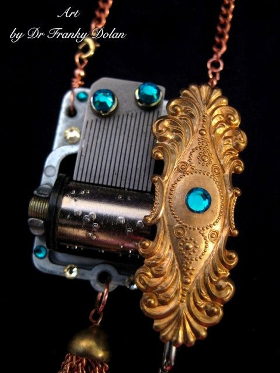 Musical Pendant - Sculptural Necklace by Award - Winning Fae Factory Steampunk Chic Eco Artist, Dr Franky Dolan  (Original jewelry art)