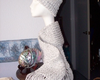 HAT with SCARF   Silver and White Winter WONDERLAND