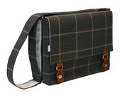 "15"" Laptop Messenger Bag -  Italian Gray Wool Messenger Bag"
