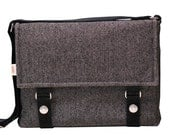 "13"" Messenger Bag Padded -  Wool Large Herringbone Pattern Messenger Bag"