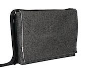 "13"" Laptop Messenger - Large Black Herringbone Bag"
