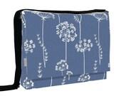 iPad Messenger Bag Padded - iPad Blue Flower Shoulder Bag