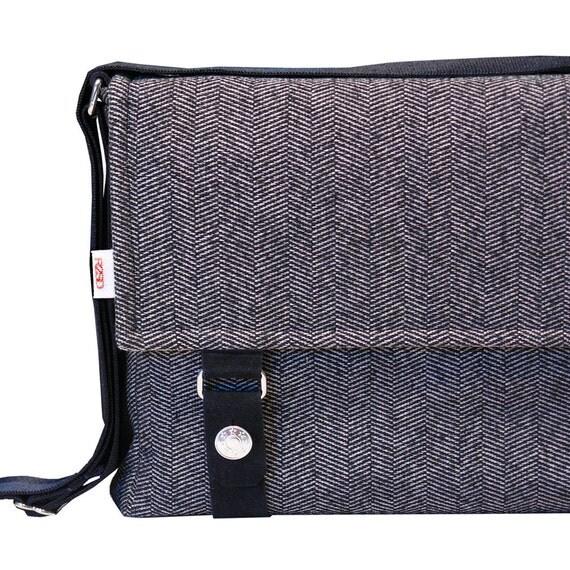 "15"" Messenger Bag Padded -  Wool Herringbone Messenger Bag"