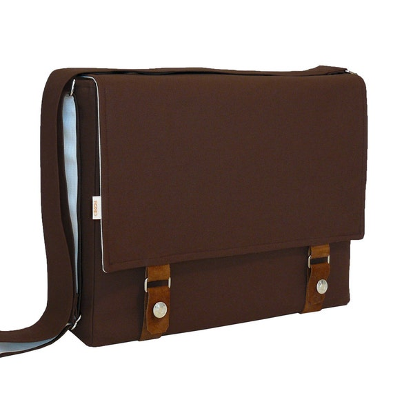 "13"" Laptop Messenger Bag - Brown with Leather Accents Bag"