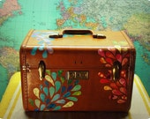 HANNAH... Remixed Vintage Train Case, decoupaged luggage (one of a kind)