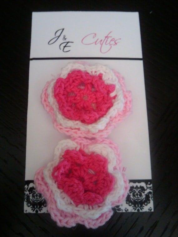 Miss Star Newborn Crochet Flower Velcro Clip