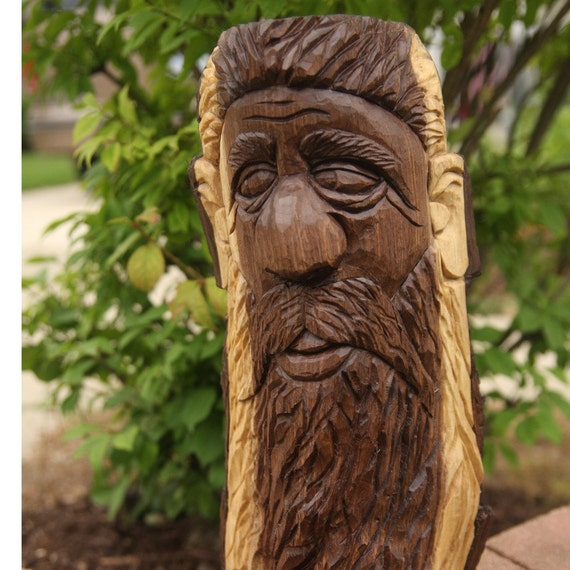 Hand Carved Black Walnut Wood Spirit Free Shipping By