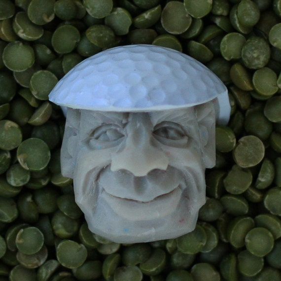 Off White Hand Carved Caricature Golf Ball