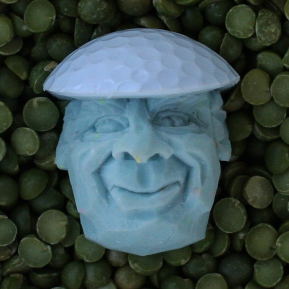 Light Blue Hand Carved Caricature Golf Ball