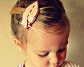 Felt Flowers- Leaf Hair Clips in Blush Pink, Woodland