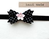 Baby Headband - Baby Bow Headband with vintage fabric and glitter band