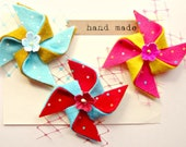 Summer hair Clips - Pinwheel clips with vintage millinery flowers