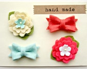 Felt Flower - Summer Bows in Coral and Mint, Tiny Hair Clips