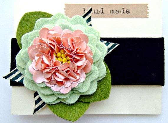 Felt Flower Headband - Wool Felt Flower with sequin center